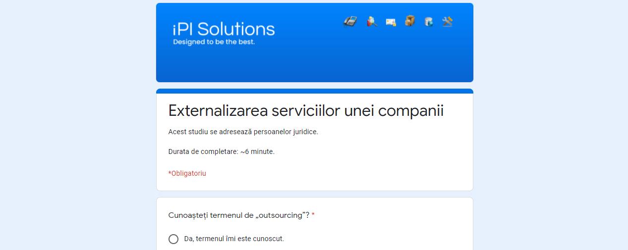 Studiu - Externalizarea serviciilor unei companii / IPI SOLUTIONS SRL